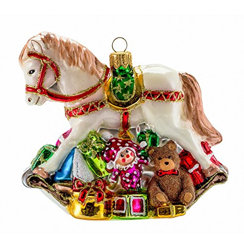 Engravable Christmas Ornaments (Miss Christmas 2019 Collection Rocking Horse with Gifts 4-Inch Blown Glass Christmas Tree)