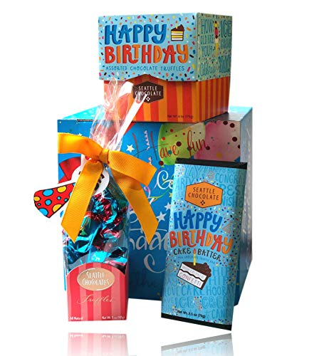 Set Happy Birthday Gift (Happy Birthday Chocolate Set By Seattle Chocolates Premium Quality All Natural Non-GMO Chocolate)