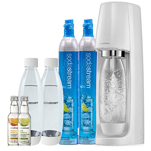 White Cylinder Bottle - SodaStream Fizzi Sparkling Water Maker Bundle (White), with CO2, BPA free Bottles, and 0 Calorie Fruit Drops Flavors