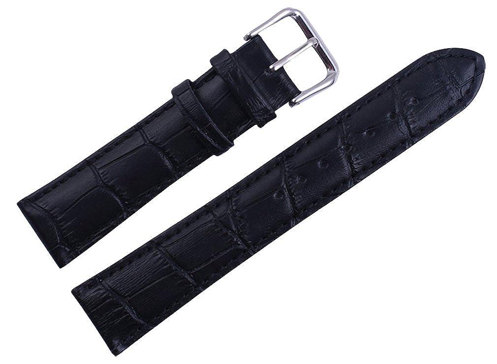 Uyoung 14 mmレディース本革レザーCrocodile Grainブラック時計バンド B00PQ95PUU
