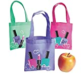 Bargain World Nonwoven Polyester Mini Spa Party Tote Bags (With Sticky Notes)