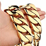 31mm Gold Plated Stainless Steel Cuban Curb Chain Men Necklace 20''-36'' (34)