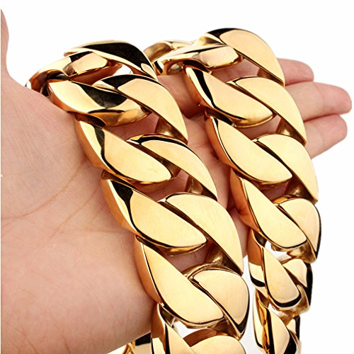 31mm Gold Plated Stainless Steel Cuban Curb Chain Men Necklace 20''-36'' (36) by FANS JEWELRY
