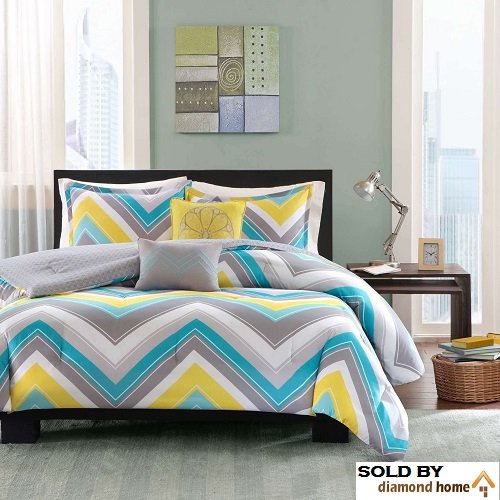5 Piece Full Queen Zig Zag Chevron Comforter Set for Teenage Girls or Adults
