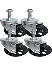 """Pack of Four - 3"""" STEEL SWIVEL CASTER WITH IRON WHEEL,FINE BEARINGS, THREADED STUD AND LOCKING NUT"""