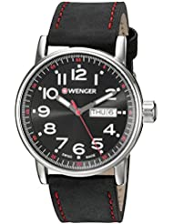 Wenger Mens Attitude Day/Date Swiss Quartz Stainless Steel and Leather Casual Watch, Color:Black (Model: 01.0341.103)