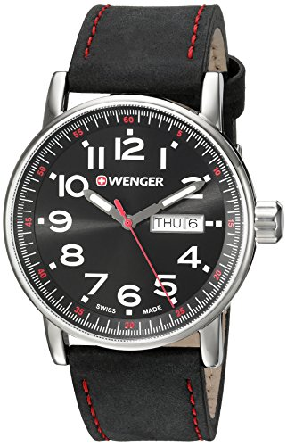 Wenger-Mens-Attitude-DayDate-Swiss-Quartz-Stainless-Steel-and-Leather-Casual-Watch-ColorBlack-Model-010341103