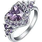 by lucky Noble women Fashion 925 Silver Amethyst Ring Wedding Engagement Jewelry (7)