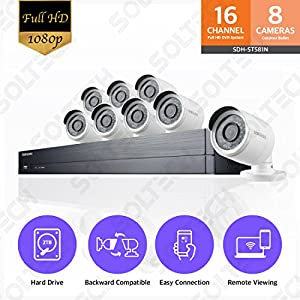 Samsung Wisenet SDH-ST581 16 Channel 1080p Full HD DVR Video Security System with 2TB Hard Drive and 8 1080p Weather Resistant Bullet Cameras (SDC-9443BC)