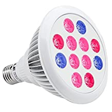 LE 12W PAR38 LED Grow Lights, Regular E26 Sized Socket, 30 degree Beam Angle, Plant Lights, Red + Blue for Hydroponic Plants, Flowers, Vegetables, Greenhouse Lighting , Grow Light Bulbs
