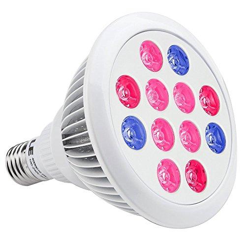 LE Hydroponic LED Grow Lights, 12W E26/E27 PAR38, 3 Bands, 30° Beam Angle, Plant Lights, Red + Blue for Plants, Flowers, Vegetables, Greenhouse Lighting , Grow Light Bulbs