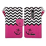 Microseven Droid Maxx 2 Case, Motorola Verizon DROID MAXX 2 / Moto X Play (2015) Magnetic Leather Book Wallet Pouch Case Cover w Fold Up Kickstand w Strap (Pink Anchor)