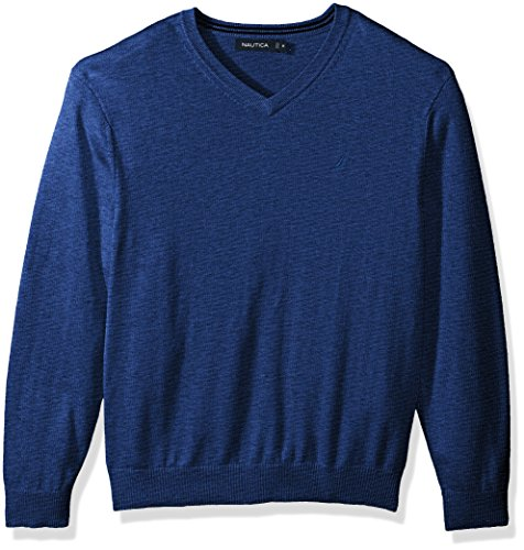 Nautica Men's Standard Long Sleeve Solid Classic V-Neck Sweater, Estate Blue, (Cotton Mens Sweater)