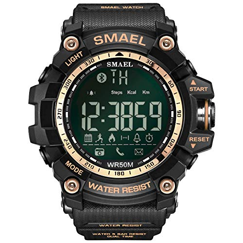 (Men's Digital Sports Watch 50M Waterproof Tactical Watch with LED Military Multifunction Backlight Watch for Men (Rose)