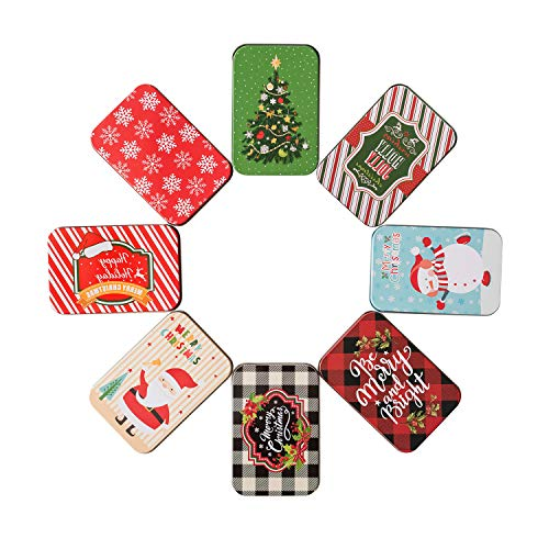 TOMNK 8 Pieces Colorful Christmas Card Tin Holder Boxes 4.9″ x 3.3″ x 0.7″ for Party Favors and Card