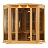3-Person Corner Carbon Infrared Sauna with 7 Year Warranty, Chromotherapy Lighting and Radio