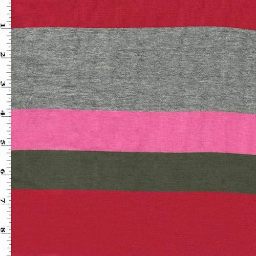 blue multi print ITY knit-striped green