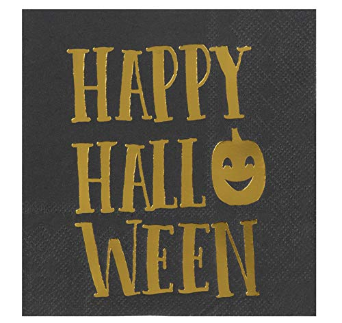Cocktail Napkins - 50-Pack Luncheon Napkins, Disposable Paper Napkins Halloween Party Supplies, 3-Ply, Happy Halloween in Gold Foil Design, Black, Unfolded 10 x 10 Inches, Folded 5 x 5 -