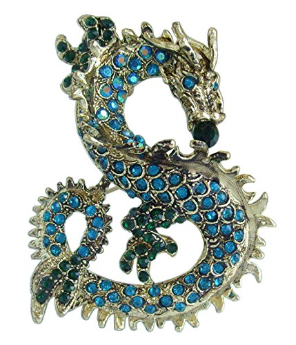 "Sindary Art Style 2.36"" Dragon Brooch Pin Pendant Austrian Crystal BZ2980 (Gold-Tone Turquoise)"