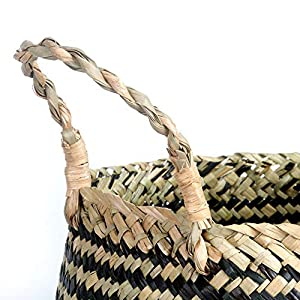 BlueMake Woven Seagrass Belly Basket for Storage Plant Pot Basket,Laundry, Picnic,Decorative Living ,Laundry Room& Bedroom (Large,Cross Pattern)