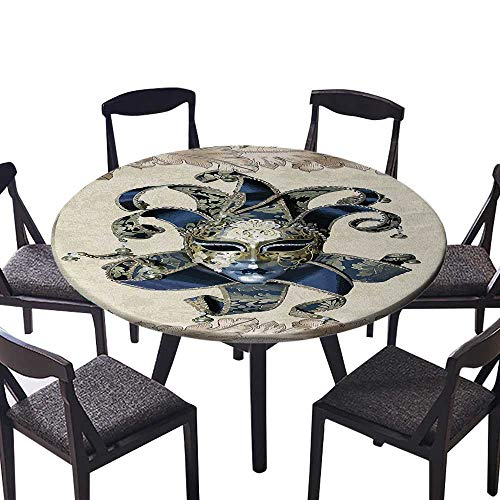 Youdeem-tablecloth Circular Table Cover Italian Themed Venetian Mask Leaves Romantic Navy Beige Gold for Wedding Banquet 43.5