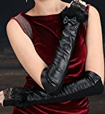 Generic Leather_ glove gloves _Ladies_ women girls winter _sheep_ leather glove gloves _half_refers_to length_of cubit_rabbit hair lace_ Bow Tie _lace_sleeve_arm_sleeve