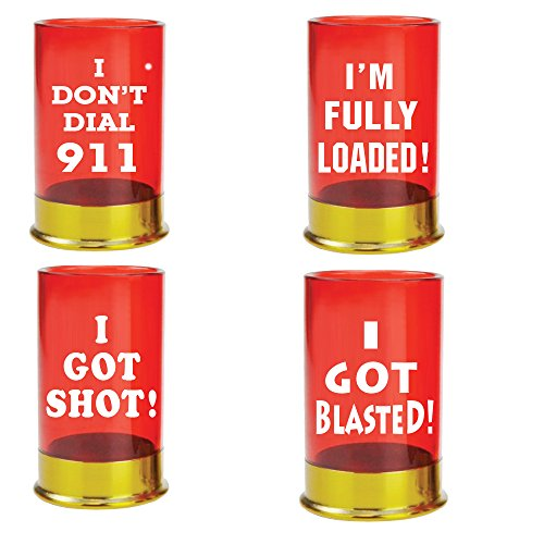 Shot Glass Set of 4 - Shotgun Shells 12 Gauge Unique Novelty Shot Glasses]()
