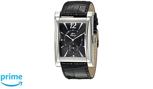 Amazon.com: gino franco Mens 902BK Stainless Steel Case and Genuine Leather Strap Watch: Watches