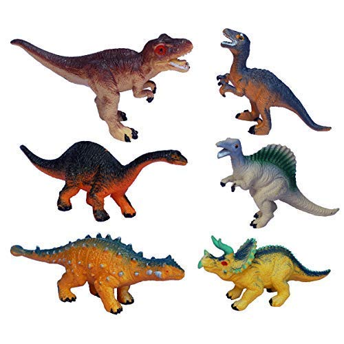 (Small Dinosaur Toys for Boys,Girls and Toddlers of All Ages,Educational Realistic Dinosaur Figures,Dinosaur Party Supplies, Party Favors, Bath Toy,Toy Dinosaurs 6 Pieces)