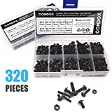 Comdox 320-Pack Phillips Cross Washer-Head Machine Screws Nuts Assortment Kit, Carbon Steel, M3 M4 Thread Size, 8mm to 20mm Length, Fully Threaded, Black Oxide Finish