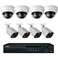 Q-See QC8816-8AU-3 16 Channel IP NVR Security System, 4 HD 4MP IP Bullet Cameras and 4 HD 4MP IP Dome Cameras, 3TB HDD POE Ports, QC8816-8AU-3
