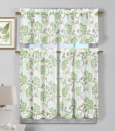 3 Piece Faux Linen Sheer Kitchen Window Curtain Tier & Valance Set Floral Vine Design - Assorted Colors | Sage