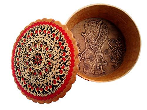 - Tourmania Round Decorative Trinket Birch Bark Box Squirrel (Red)