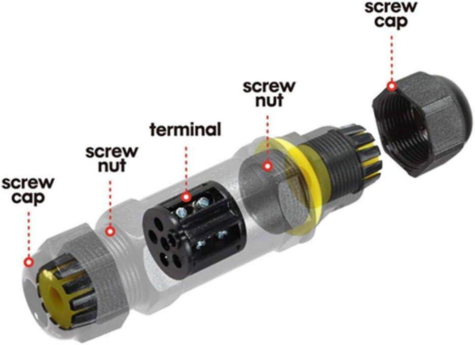 lot de 6 Aroc IP68 /étanche Bo/îte de jonction ext/érieur /électrique connecteur de c/âble externe Sleeve Coupler 3 broches 9 A 450 V