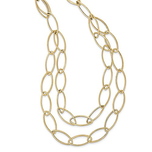 (Jewels By Lux 14k Gold Polished Textured Fancy Link)