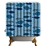 One Fish Two Fish Shower Curtain FUNIFUTURE Blue Fish Fabric Shower Curtain,or Liner Mildew Resistant,Sharks Swimming Horizontal Silhouettes Traveler Powerful Danger Design Pattern-72x72inch Long,100% Polyester, with Hooks (Sharks)