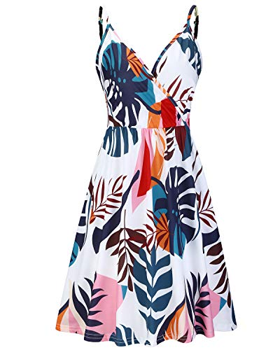 STYLEWORD Women's V Neck Pocket Dress Floral Adjustable Straps Beach Dress