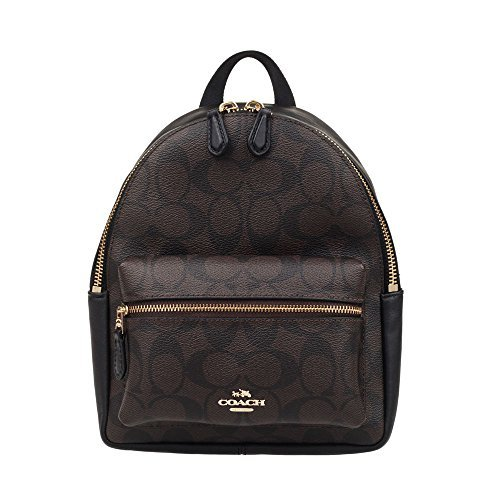 Coach Mini Charlie Pebble Leather Backpack (Brown/Black) (Charlie Pack)