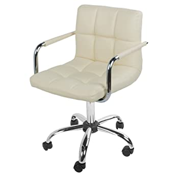 OFFICE CHAIR FAUX LEATHER BAR STOOLS WHEELS STOOL KITCHEN BREAKFAST  BARSTOOLS (CREAM)