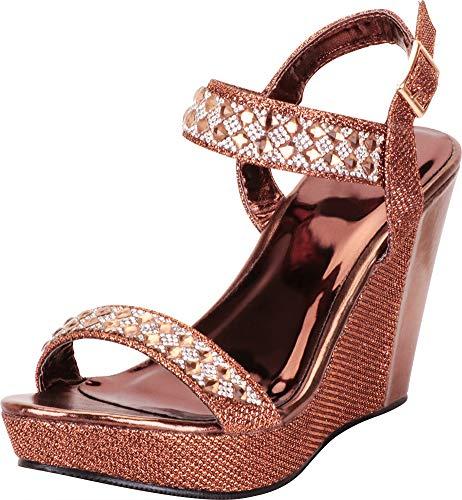 Cambridge Select Women's Open Toe Glitter Crystal Rhinestone Chunky Platform Wedge Sandal,8 B(M) US,Bronze PU