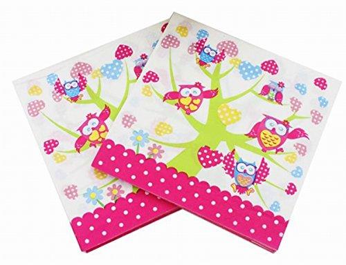 Salome Idea 60 Counts Creativite Funny Disposable Napkins for a Wedding or Tea Party Creative Napkins(Owls on Tree)]()