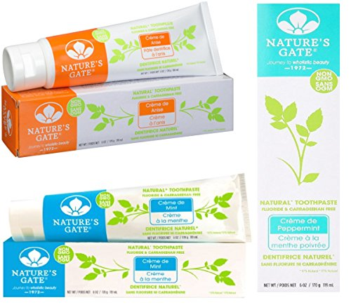 (Nature's Gate Natural Herbal Creme de Mint, Creme de Anise, and Creme de Peppermint Toothpaste 3 Pack Variety)