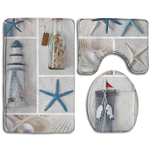 Happybeth Bathroom Rug Mats Set 3 Piece, Bottle Seashell Starfish Lighthouse Print Non-Slip Bath Rugs + Toilet Seat Cover + Contour Mat