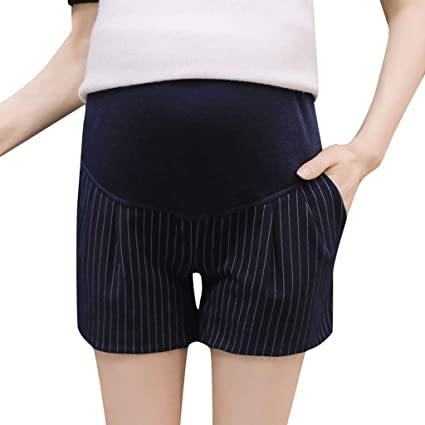 19bbed411ff7b Amazon.com: Maternity Lace Safety Shorts Pants Stripe Trousers with Over  Bump Panel Summer Workout Loose Fit Stretchy: Appliances