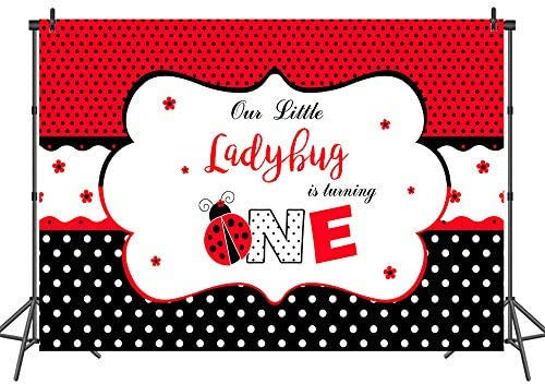 8x12 FT Ladybugs Vinyl Photography Backdrop,Summer Season Inspired Sun Pattern Bugs Animal Imagery Cartoon Characters Background for Baby Birthday Party Wedding Studio Props Photography