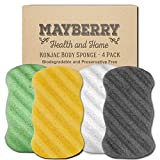 Konjac Body Sponge (4 Pack) Individually Wrapped Pure Konjac, Bamboo Charcoal, Green Tea, and Turmeric Konjac Sponges Offer a Gentle Cleansing Experience