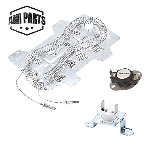 AMI PARTS DC47-00019A & DC47-00018A & DC96-00887A Dryer Heating Element With Thermostat and Thermal Fuse Replacement Part Compatible with Kenmore Samsung Dryers