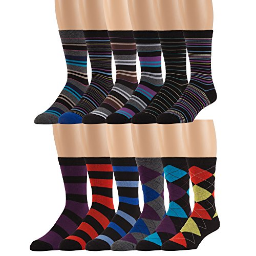 Mens Cotton Blend Dress Socks - 12 Pairs of Asstd Patterns and Colors - by ZEKE,Assorted Colors,One Size Fits Most