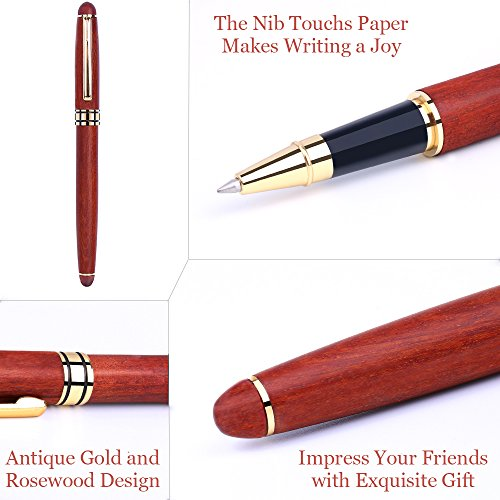 Unibene Luxury Genuine Rosewood Gel Ink Rollerball Pen, Elegant Wooden Gift for Business Executive Signature Graduation Journal, Nice Wood Writing Set with Extra Refill Box, Upgraded Ballpoint Pen