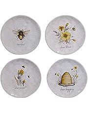 "Certified International Bee Sweet 8.5"" Salad/Dessert Plates, Set of 4 Assorted Designs, Multi Colored"